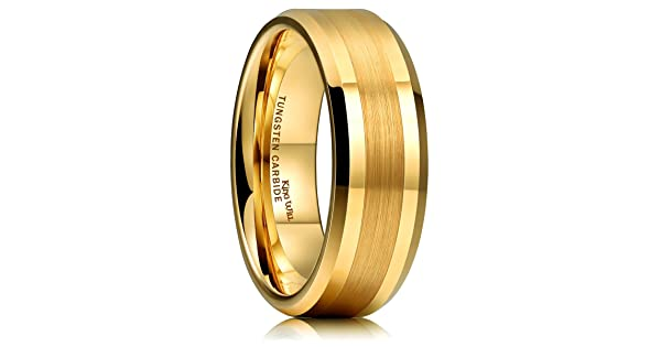 7437f8aa7bf King Will GOLD 8mm Gold Tungsten Carbide Ring Brushed Center Mens Wedding  Band Comfort Fit(14.5)