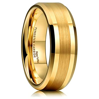 1848d5e788 King Will GOLD 8mm Gold Tungsten Carbide Ring Brushed Center Mens Wedding  Band Comfort Fit(