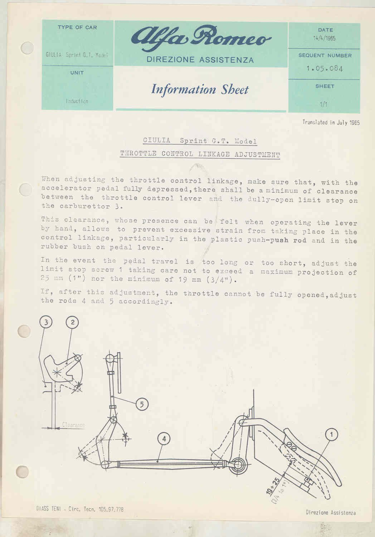 1965 Alfa Romeo Original Service Bulletin Set Brochure Vacuum Diagram Entertainment Collectibles