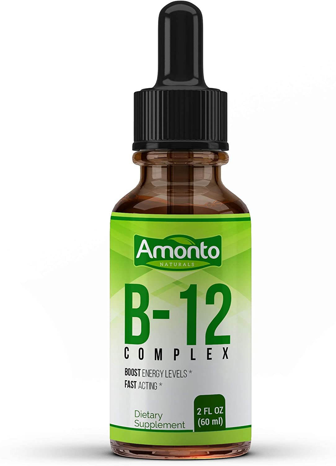AMONTO Naturals Vitamin B12 Liquid Drops – Vitamin B12 Sublingual for Extra-Fast Energy Boost, Increase Metabolism, Improves Mental Clarity, Cognitive Functions - B12 Complex Vitamins High Potency fo