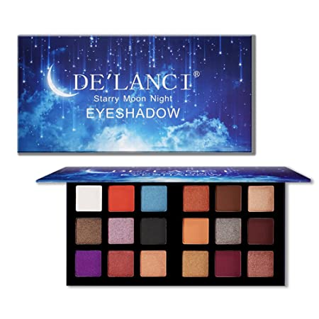 De'lanci 18 Colors Eyeshadow Makeup Palette With Mirror, Shimmer + Matte + Duo Chromes Eye Shadow Make Up Powder   Ultra Pigmented Waterproof Cosmetics Set   Vegan And Cruelty Free, 0.76 Ounce by De'lanci