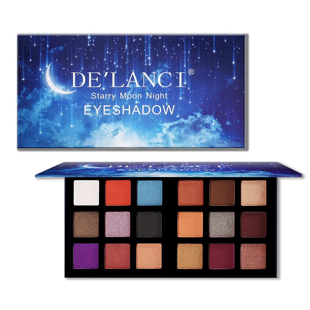 DE\'LANCI 18 Colors Eyeshadow Makeup Palette with Mirror, Shimmer + Matte + Duo-Chromes Eye Shadow Make Up Powder - Ultra Pigmented Waterproof Cosmetics Set - Vegan and Cruelty Free, 0.76 Ounce
