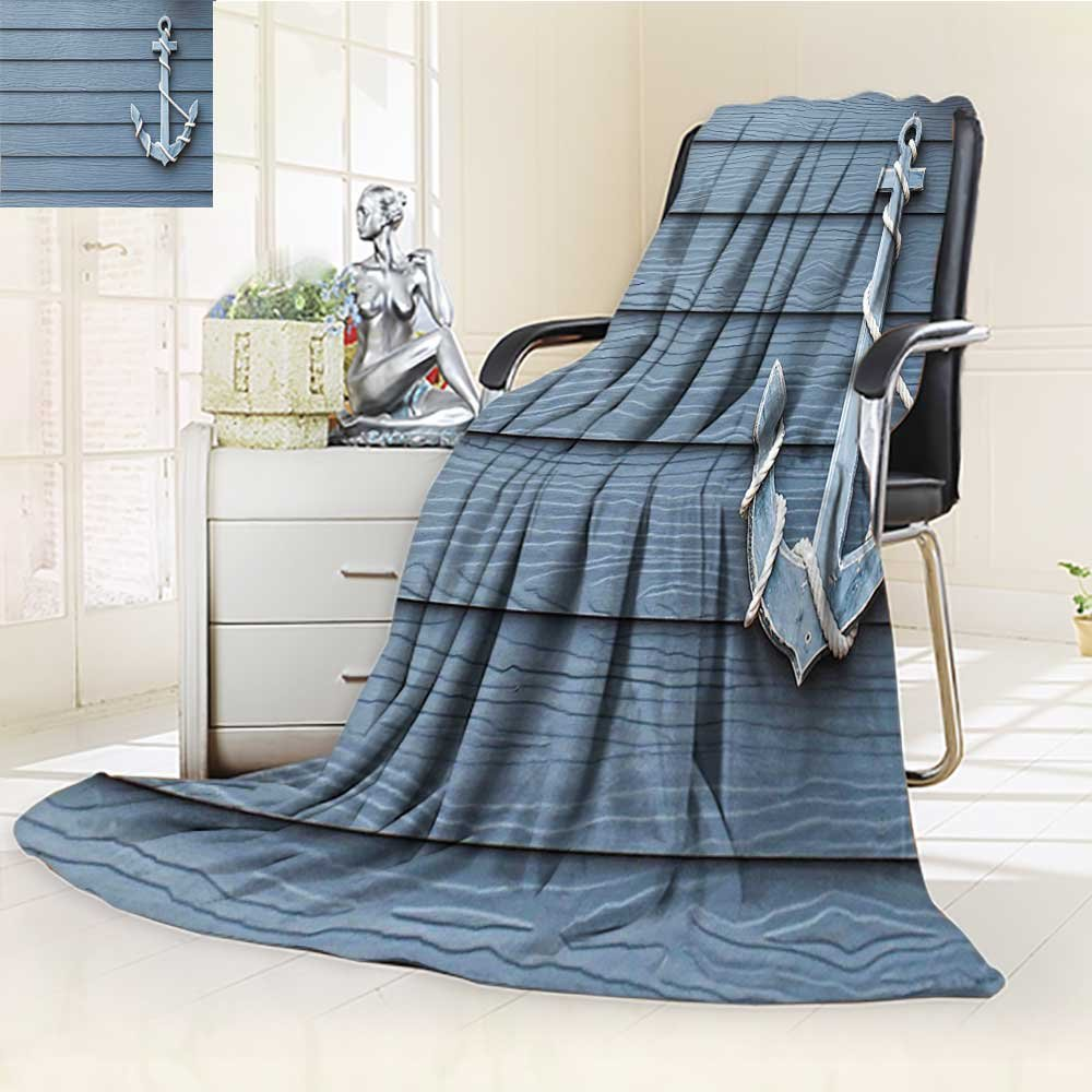 YOYI-HOME Digital Printing Duplex Printed Blanket Nautical Anchor with Marine Rope on Wood Background Sea Ocean Life Coast Cruise Theme Blue Grey Summer Quilt Comforter /W79 x H59