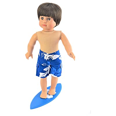 "Surfs Up! Trunks with Surf Board | Fits 18"" American Girl Dolls, Madame Alexander, Our Generation, etc. 