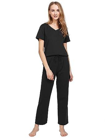 7c6ce1083 Latuza Women s Cotton Pajamas Set Short Sleeves Top   Sleep Pants at ...