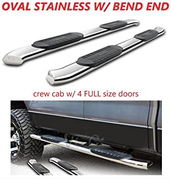 "4/"" Oval Black Side Step Bar For 1999-2018 Silverado 1500 2500 3500 Extended Cab"