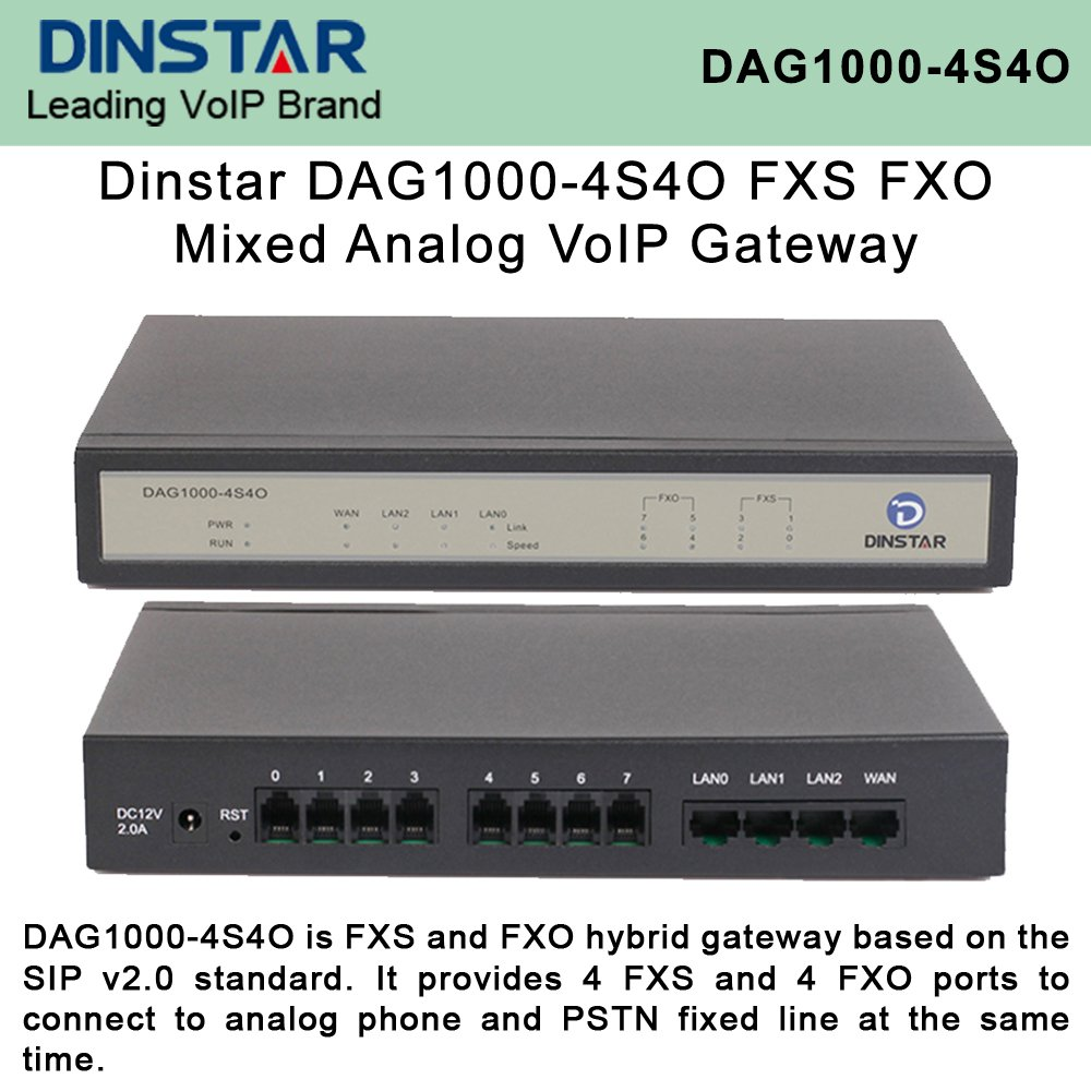 Dinstar DAG1000-4S4O FXS/FXO Mixed Analog VoIP Gateway