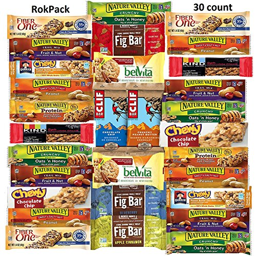 RokPack Healthy Bars & Snack Packs Ultimate Office Meetings Schools Military College Family Gift Care Package includes Kind, Clif, Belvita, Nature Valley, Fiber One & More! (Includes 30 Bars) by RokPack
