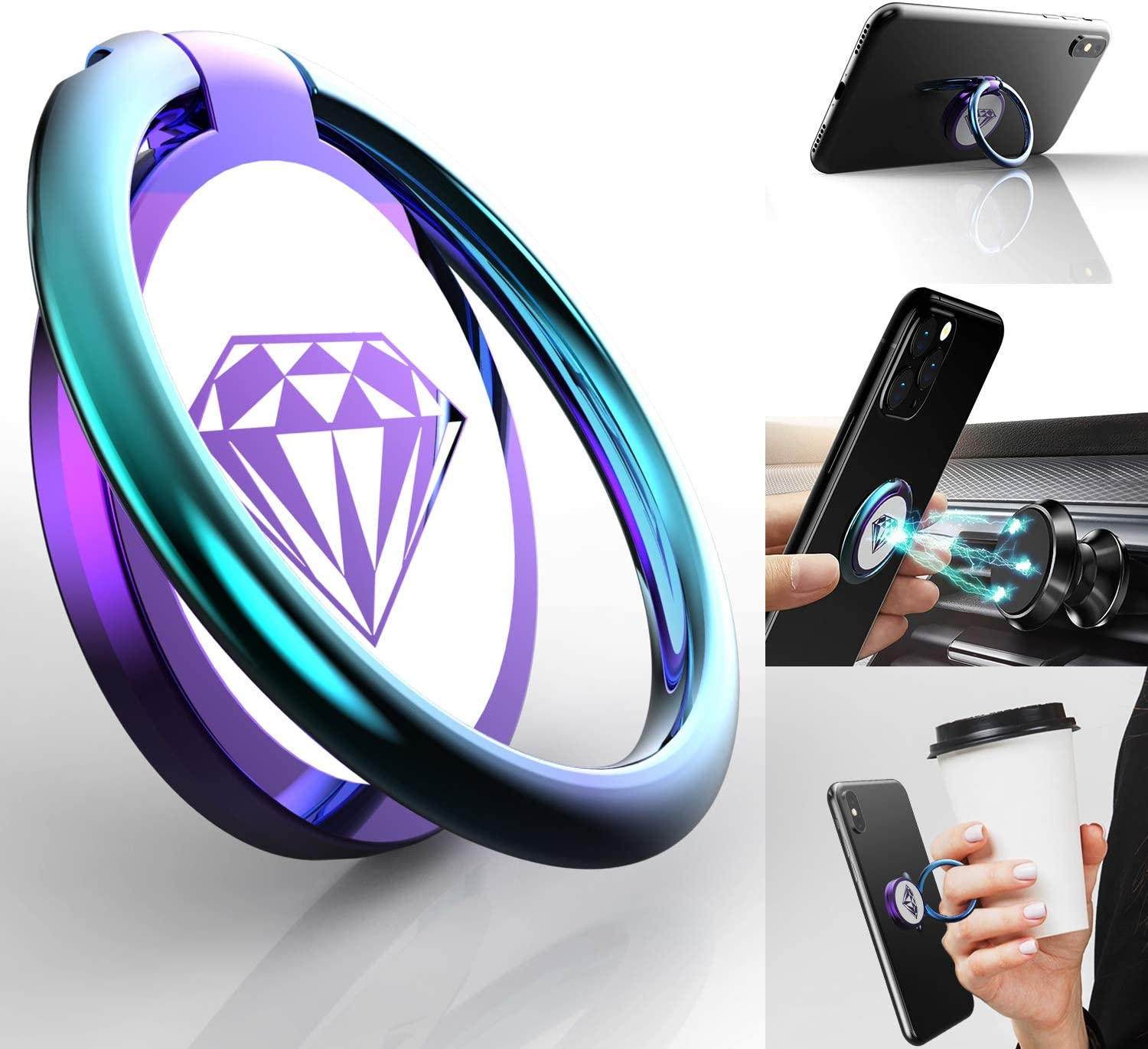 Phone Ring Holder Finger Kickstand, A-Maker 360° Rotation Metal Phone Ring Stand,Phone Ring Grip for Magnetic Car Mount Compatible with iPhone, Samsung Galaxy All Smartphone (Colorful)
