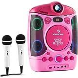 Auna Kara Projektura • Karaoke 2-1 con proiettore LCD • Kit Karaoke • Accesso USB • capacitá MP3 • 2 microfoni dinamici • Lettore CD+G • Uscita Video • usicta Audio • Effetto Eco • AVC • Rosa