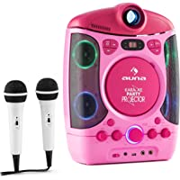 auna Kara Projectura - Set de Karaoke , Vídeo proyector LCD , 2 x micrófonos dinámicos , Reproductor CD+G , USB , Compatible MP3 , Salida de Video y Audio , LED , Rosa