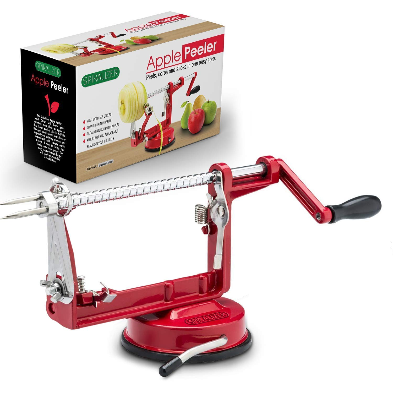 Cast Magnesium Apple/Potato Peeler by Spiralizer, Durable Heavy Duty Die Cast Magnesium Alloy Apple/Potato Peeler Corer