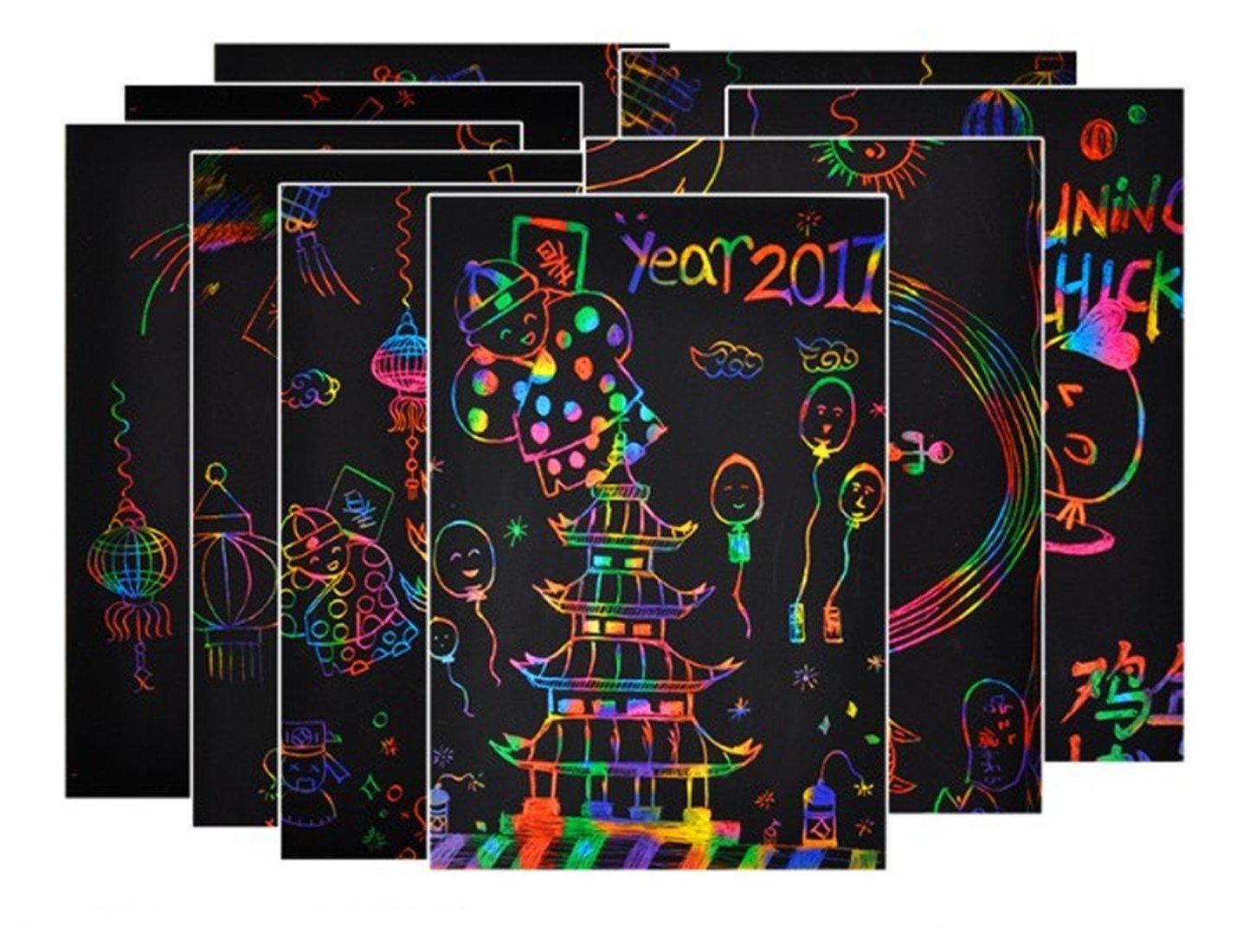 Tovto 27,9 x 21,60 cm 15 fogli da disegno colorati da grattare per bambini e 5 stencil per disegnare