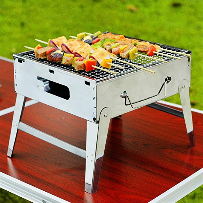 HomJo Barbacoa grill Parrilla de barbacoa al aire libre de camping Parrilla de acero inoxidable portátil plegable piernas a la parrilla Utensilios de ...