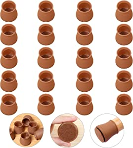 "【Upgrade】Ezprotekt 24 Pack Chair Leg Floor Protectors with Felt Pads Clear, Furniture Pads Silicone Chair Leg Cups Hardware Floor Protectors, Fits 1-3/8"" to 1-3/4"", Round Brown"