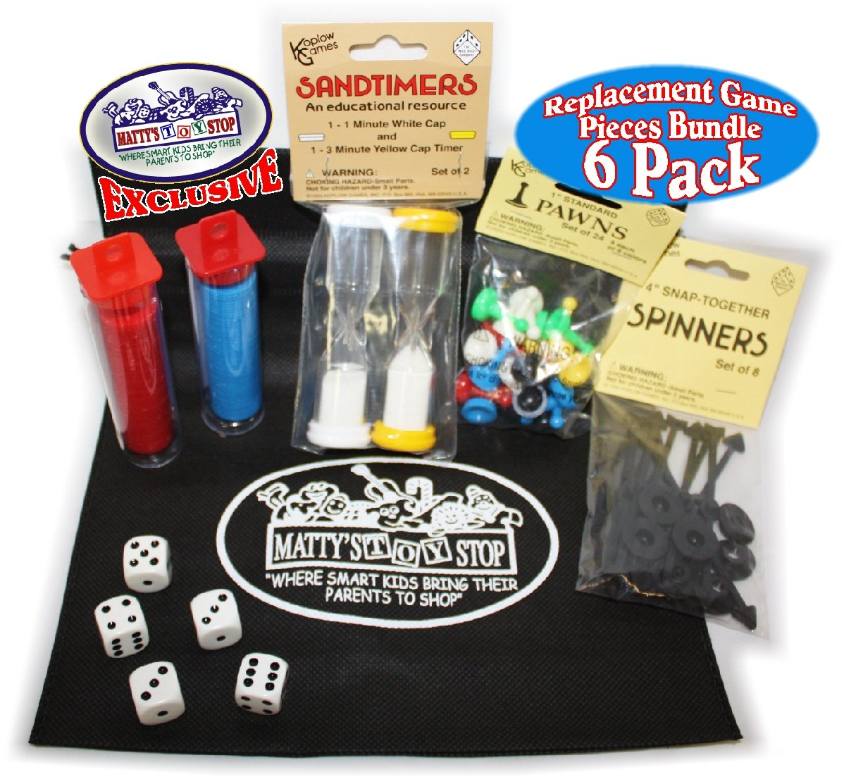 Universal Game Pieces Replacement Set with Exclusive ''Matty's Toy Stop'' Cinch Storage Bag - 6 Pack by Koplow Games