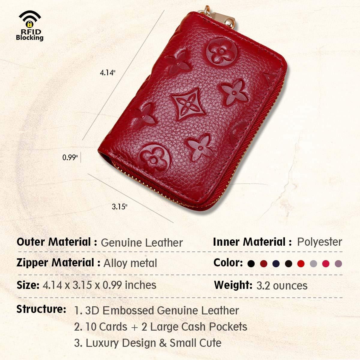 Auner Womens Wallet RFID Blocking Genuine Leather Multi Credit Card Holder Zipper Small Wallets - Dark Red by Auner (Image #3)