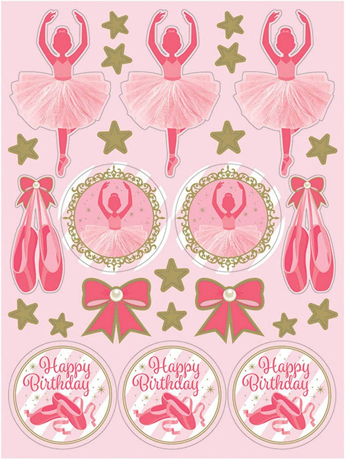 Creative Converting 324449 Twinkle Toes Ballerina Party Sheets Sticker Paper Pink