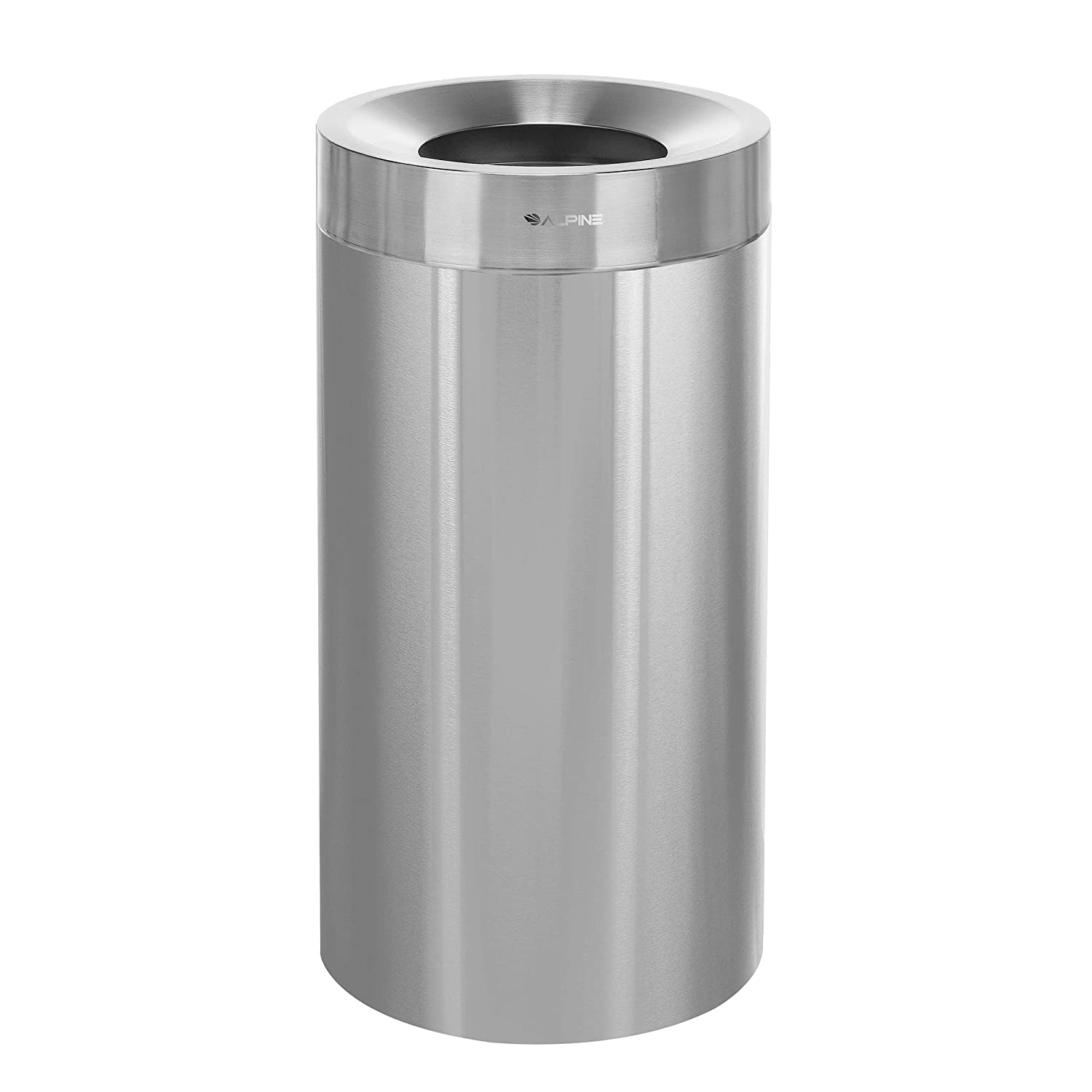 Alpine Industries 27 Gallon Heavy Duty Indoor Trash Can - Corrosion Proof Stainless Steel Garbage Bin - Heavy Duty Waste Disposal Trashcan for Litter Free Home, Schools, Hospitals and Businesses (27 gallon)