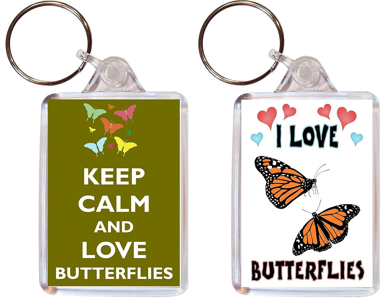 2 x diseño de mariposas/Mariposa Llaveros - I Love & Keep ...