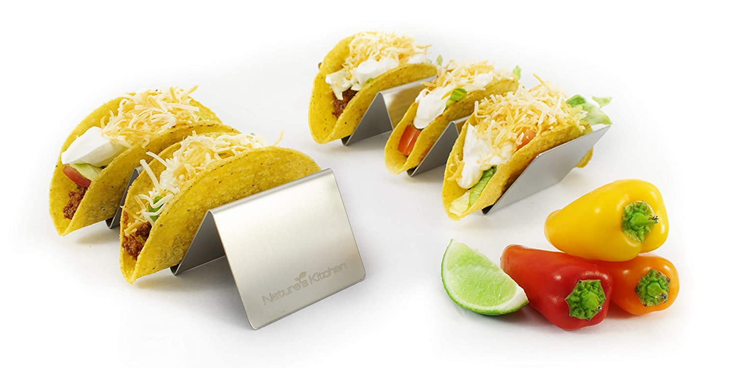 Nature's Kitchen 2-Pack Taco Holder Stand for Hard and Soft Shell Tacos - Hold up to 3 Tacos Each - Stainless Steel Rack