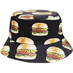 37910a9edaa City Hunter Bd1950 Food Bucket Hat - White Hamburger