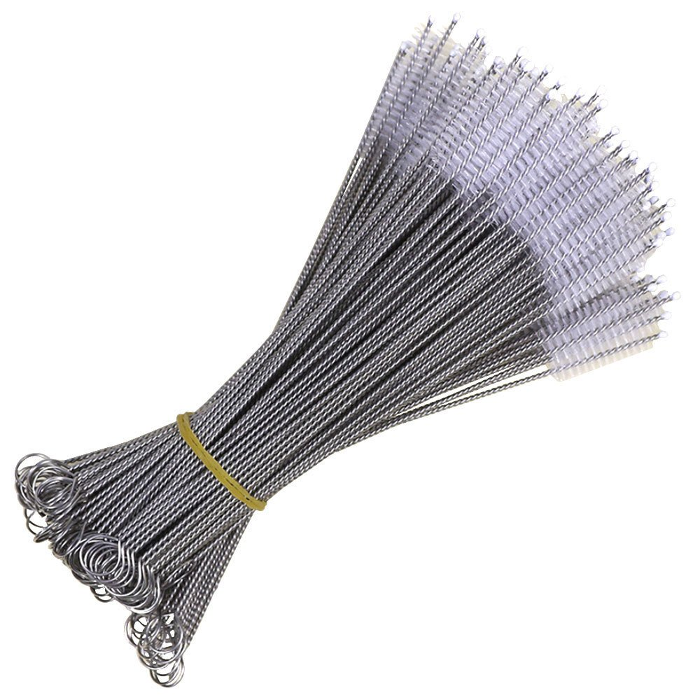 DayCount 100 pcs Nylon Straw Brush Pipe Cleaning Brushes for Drinking Straws, Glasses, Keyboards, Jewelry Cleaning Dia 6.9''x6mm Jewelry Cleaning Dia 6.9' ' x6mm DayCount® DC0961