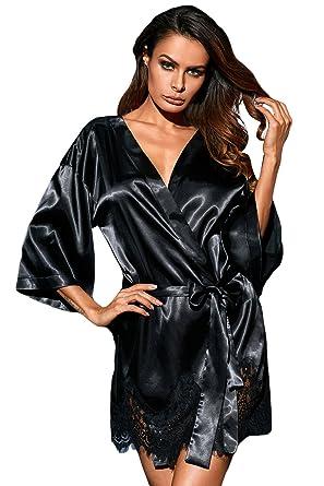 Chiguo Women Nightwear Luxurious Black Satin Robe Belt Sleepwear Bridal  Sexy Lace Lingerie For Ladies ( 1affb43f9