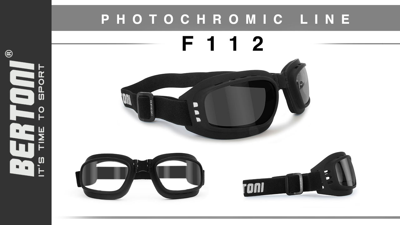 Bertoni Italy F112A Motorbike Goggles Adjustable Strap Ventilated Motorcycle Goggles Riding Padded Glasses Photochromic Antifog
