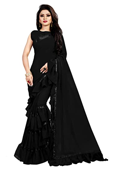 6381a72e7be Anjaneya Sarees Georgette Ruffle Frill Plain Lace Saree with Blouse