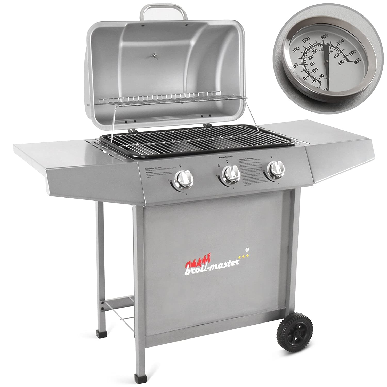 broil-master® BBQ Gas Grill Steel Barbecue in Silver or Black Power ca. 7,5 kW (3 x 2,5 kW) FF-Europe