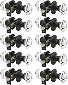 Oil Rubbed Bronze Crystal Diamond Door Knobs Bath Bedroom Locksets with Privacy Function 10Pack