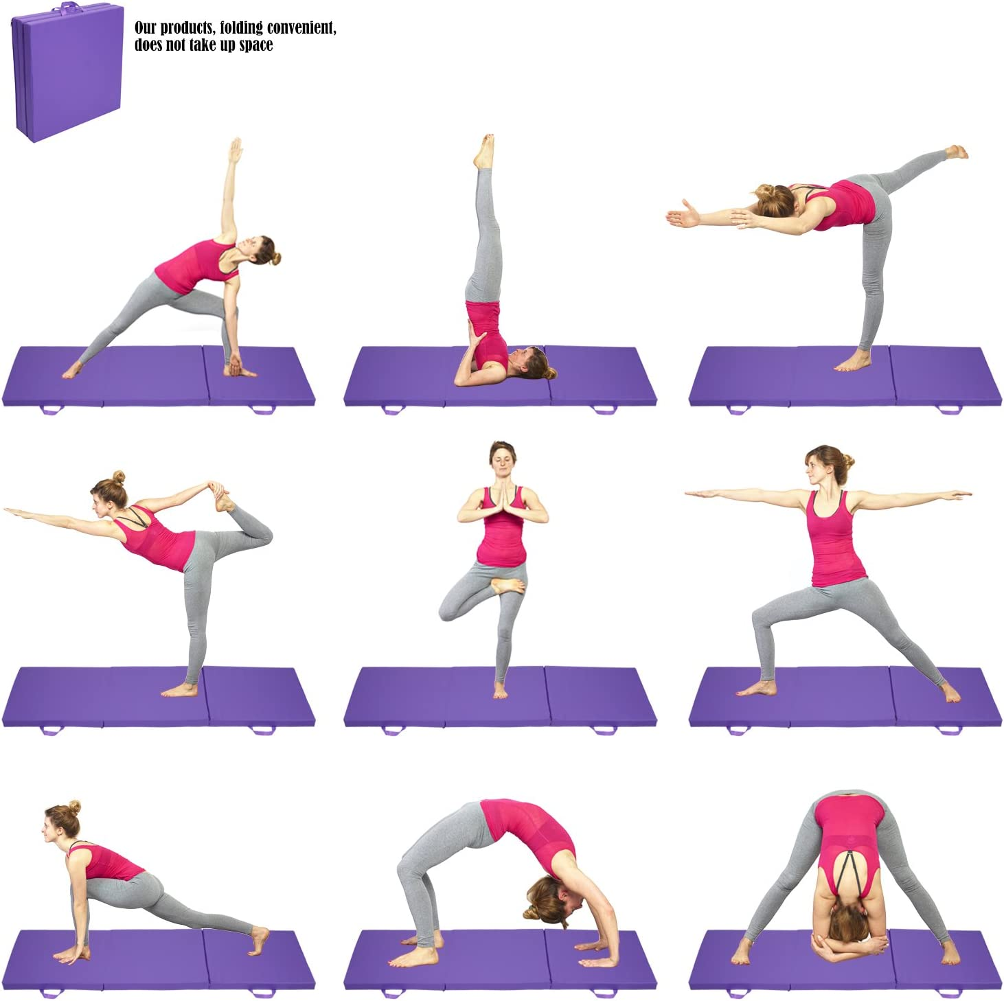 Amazon.com: Yuebo 6 ejercicio plegable colchoneta de ...