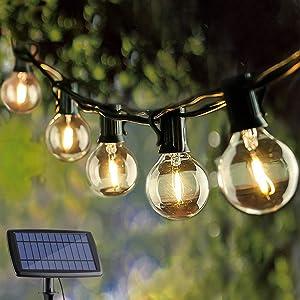 VMANOO Solar Outdoor String Lights 25Ft Globe Patio Lighting G40 LED Bulbs UL Listed for Outside Yard Gazebo Party Wedding Porch Garden Bistro Pergola Backyard Deck Hanging Indoor Balcony Decor Lights