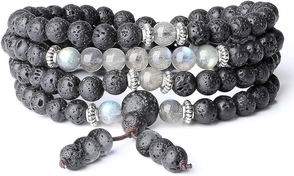 COAI® Pulsera Collar de Múltiples Capas 108 Cuentas Mala de Piedra Lava 6mm