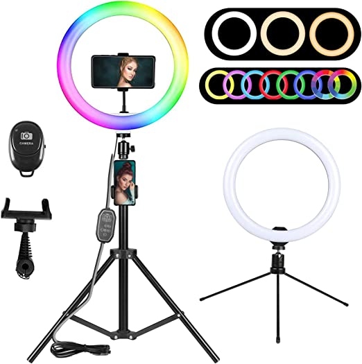 Amazon Com 10 2 Rgb Selfie Ring Light Led Ring Light With Tripod Stand Phone Holder Desktop Circle Light For Youtube Video Tiktok Live Stream Makeup Beauty Ringlight For Iphone Android