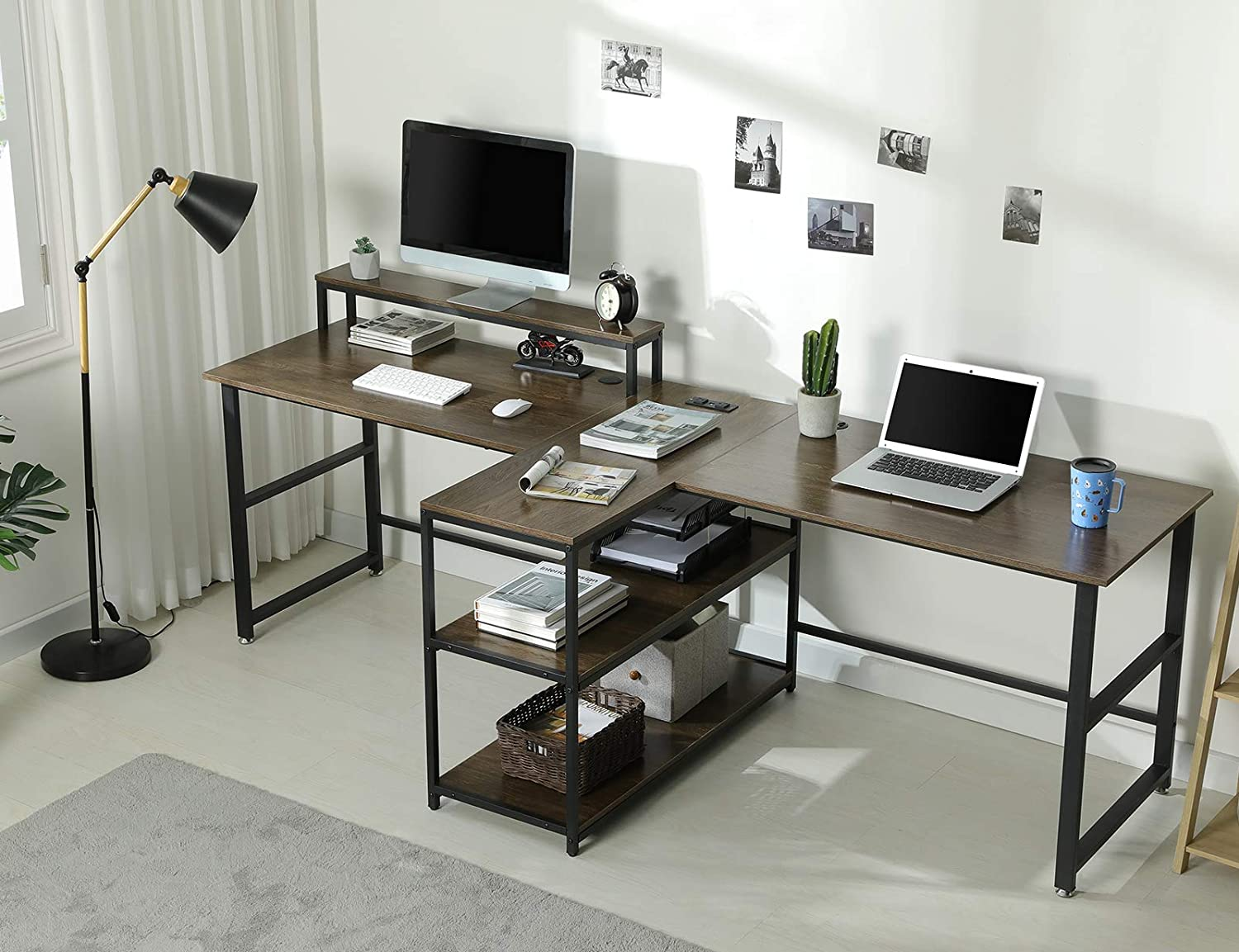 Sedeta 94.5 inches Two Person Desk, Double Computer Desk with Storage Shelves, Extra Long Workstation Desk with Monitor Stand, Power Strip with USB, Study Writing Desk for Home Office, Walnut