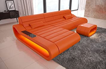 Orange Leather Sofa Uk | Baci Living Room