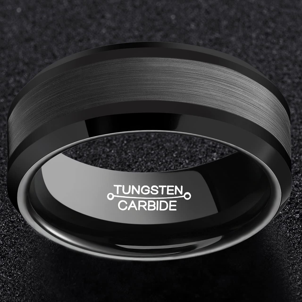 FCL Rings for Men Tungsten Carbide Wedding 8mm Black Plated Matte Brushed Center Polished Edge Size 7-13