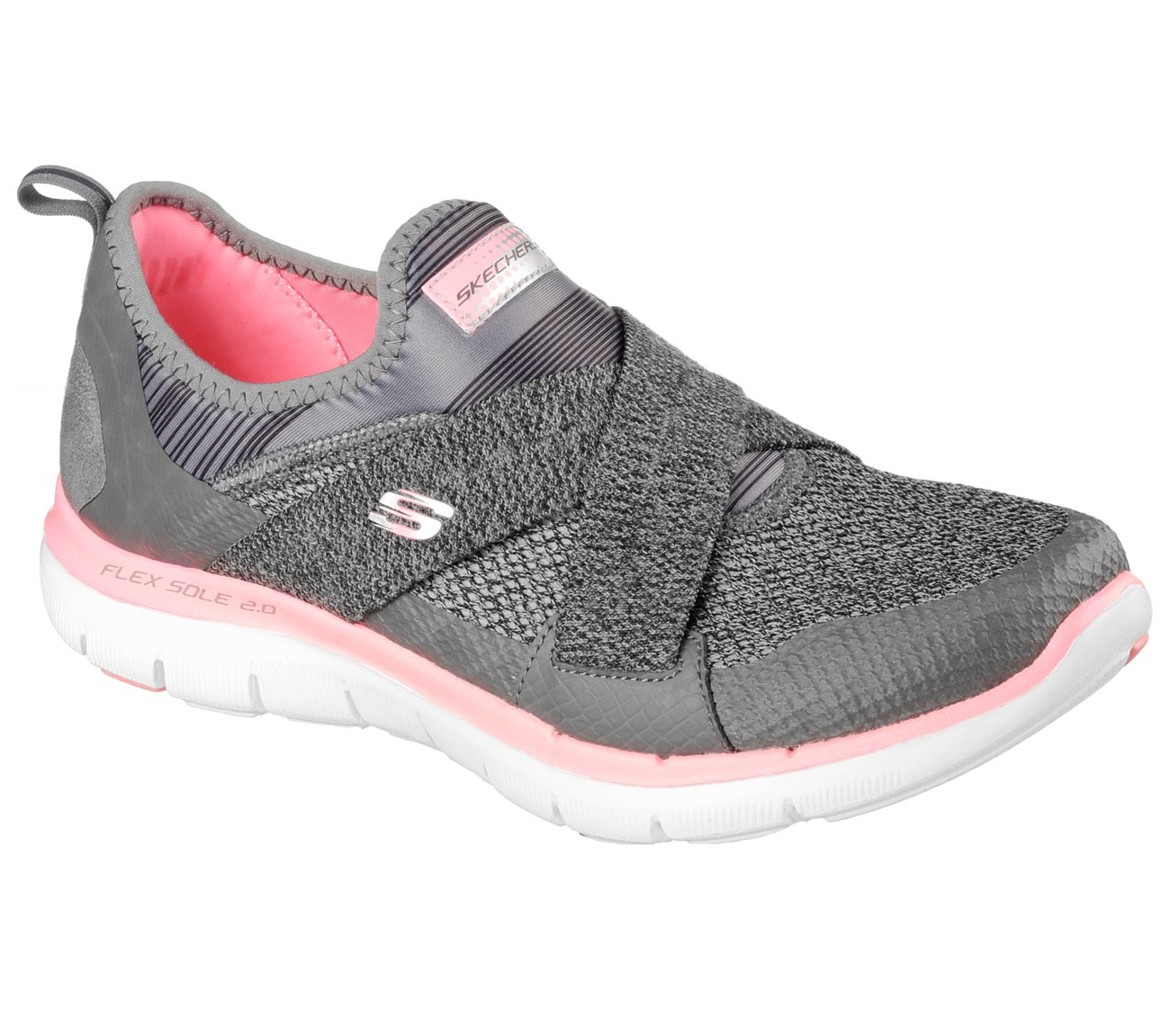Skechers Women's Flex Appeal New Image Sneaker B01EOUWBOY 5.5 W US|Charcoal/Coral