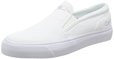 aec03ef6286898 Nike Women s Toki Slip Canvas White Mtlc Platinum Casual Shoe 6 Women US