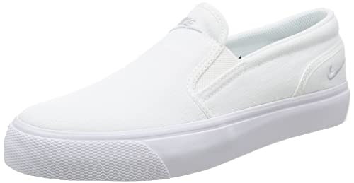 be2d4fe8b7b5 Nike Womens Toki Slip Canvas Casual Shoe Size 7.5 White Metallic Platinum