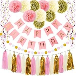 Birthday Decorations, Pink and Gold Happy Birthday Party Decoration for girl boy women men, Happy Birthday Banner, Paper Garland, Birthday Party Supplies for 1st 21st 25th 30th 40th 50th 60th 80th