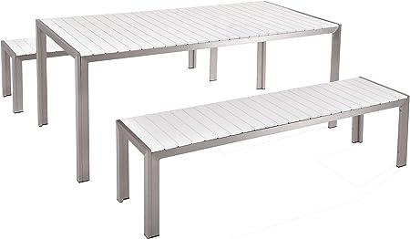 Tavolo Legno Bianco Esterno.Beliani Arredamento Da Giardino Set Di Tavolo E Panchine In Legno