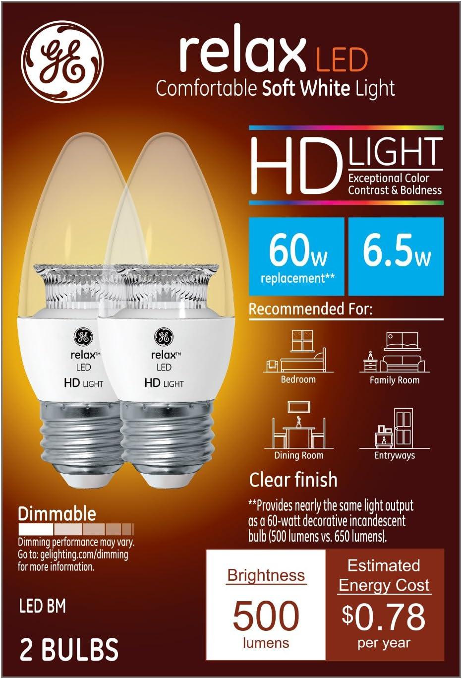 GE Lighting 92301 LED Relax HD 6.5 (60-watt Replacement), 500-Lumen Blunt Tip Light Bulb with Medium Base, Soft White, 2-Pack, Standard