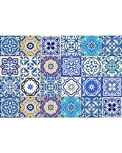 Tile Stickers 24 PC Set Authentic Traditional Talavera Tiles Stickersl  Bathroom U0026 Kitchen Tile Decals Easy