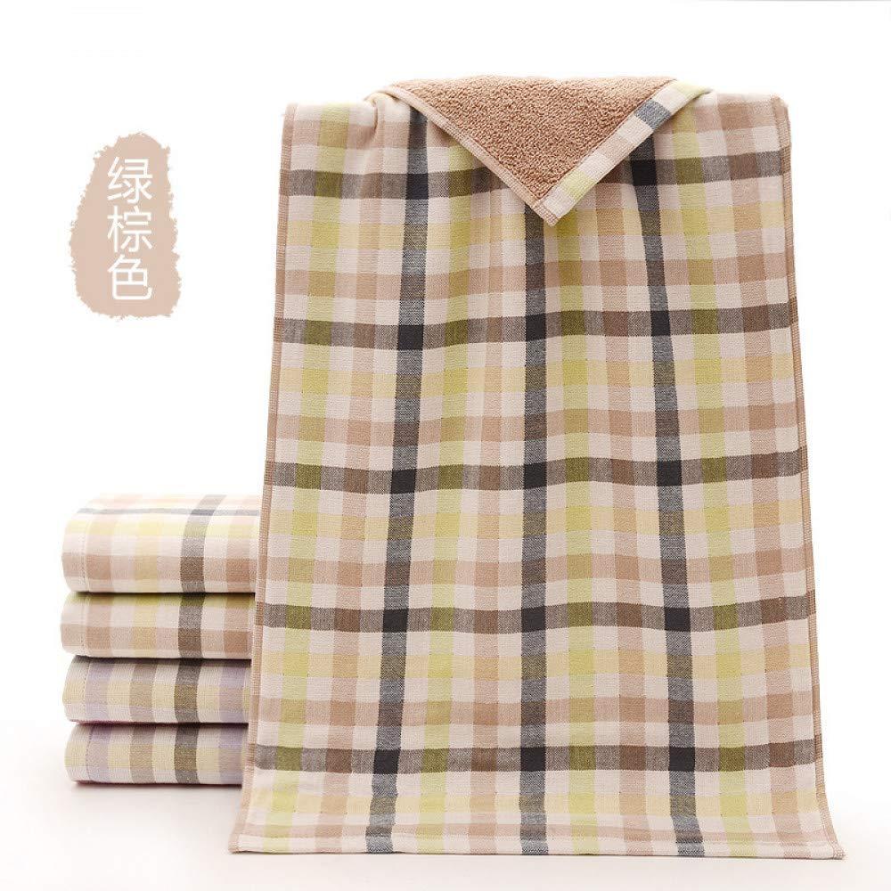 BiAnHua El Bordado Suave del algodón de la Tela Escocesa de la Tela Escocesa Suave y cómoda del Recorrido de la Toalla Absorbe, marrón Verde, los 34 * 76Cm marrón Verde