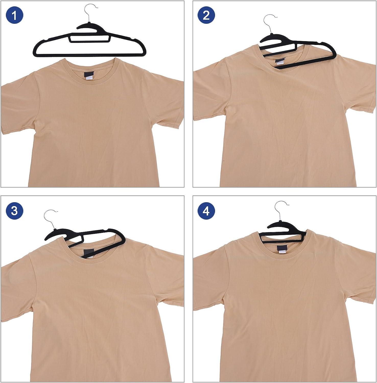 grau CRF01V-50 SONGMICS Kleiderb/ügel verbesserte Anzugb/ügel rutschfest und platzsparend 50 St/ück mit Samt /überzogen mit um 360/° drehbarem Haken