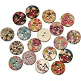 Souarts Mixed Random Flower Round 2 Holes Wood Wooden Buttons for Sewing Crafting 15mm Pack of 200