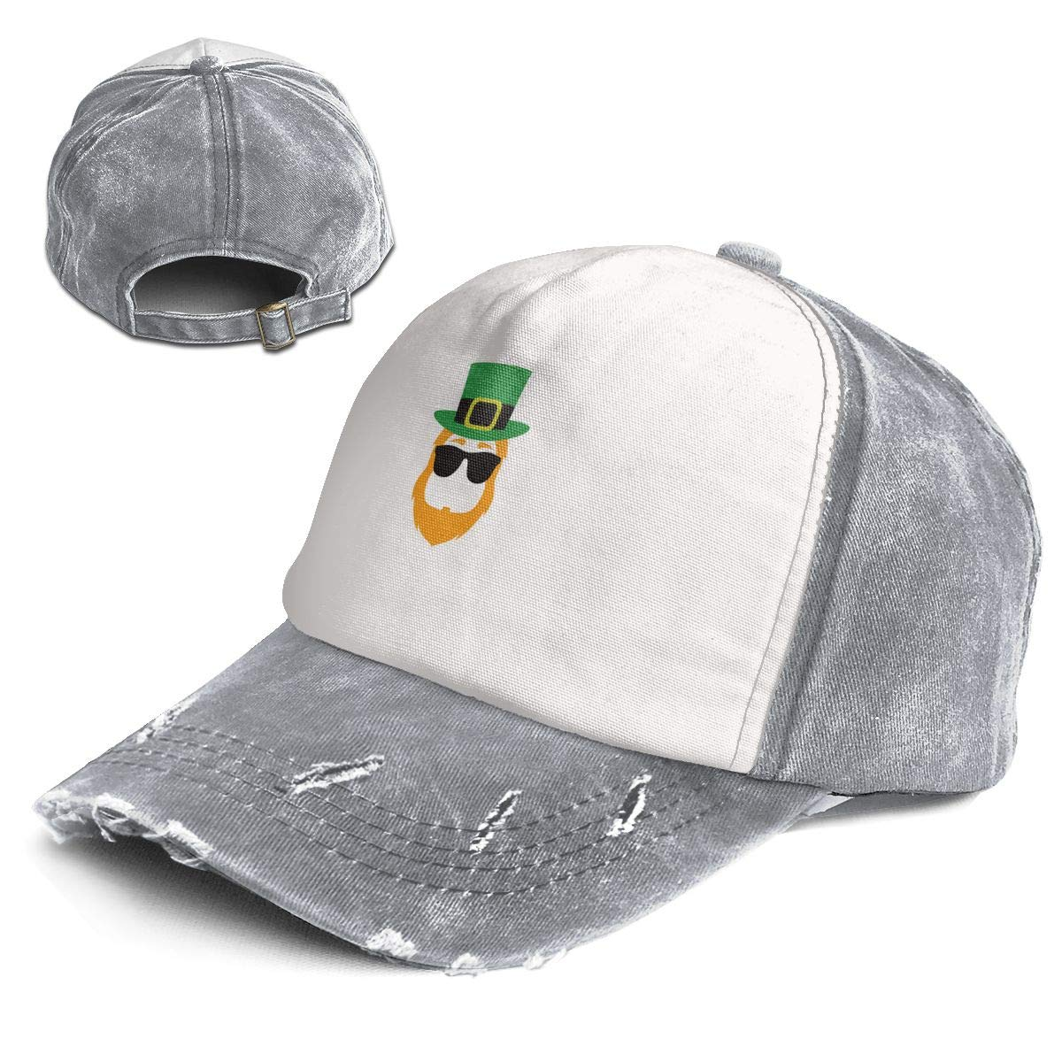 St Patricks Trend Printing Cowboy Hat Fashion Baseball Cap for Men and Women Black